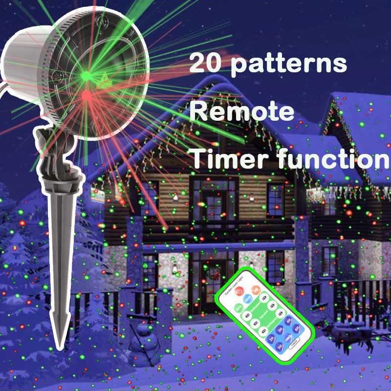 20patterns Waterproof christmas lights LED Snow Projector Holiday Decoration Light Rotating RGB Lawn Landscape Garden