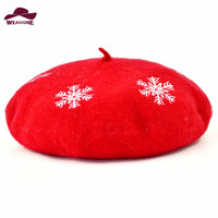 Women Beret Christmas Gift Hats Snow Knitted Wool Berets 100 Wool Mujer Embroidered Snow Berets Hats