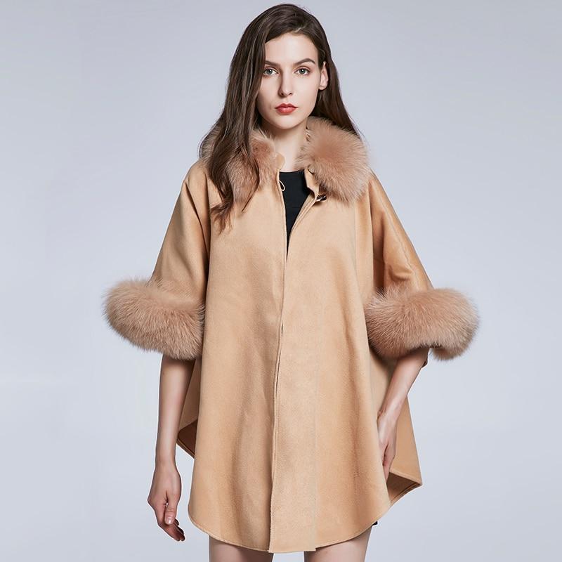 JKP new cashmere shawls with fox fur scarf animal skins poncho fashion outwear YRPJ M10