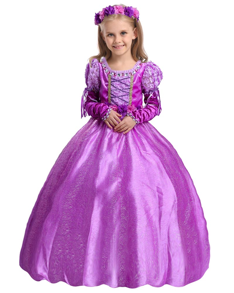 Hitmebox Baby Aurora Childre's Dresses Sofia New Princess Rapunzel Purple Party Fancy Dress Costumes for Girls Kids Cosplay