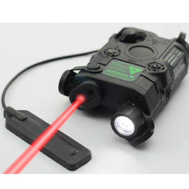 AN/PEQ-15 rojo punto láser blanco LED linterna 270 lúmenes para el Rifle de caza de visión nocturna estándar de 20mm caja de la batería elemento