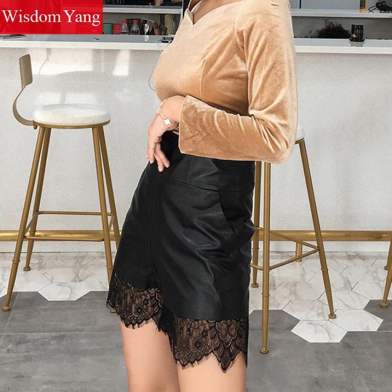 Осенние широкие шорты из натуральной овечьей кожи, женские винтажные кружевные шорты с высокой талией, черные мини шорты, женские брюки - 4