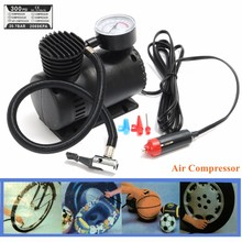 300 PSI 12V Portable Mini Air Compressor Auto Car Bicycle Electric Tire Inflator Pump with 2 Nozzle Adapters Accessories