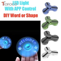 TOFOCO New Flash App Control LED Word Lighting Fidget Spinner Metal Hand Spinners Smart Figet Spiner