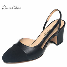 2016 mode High Heels Frauen Pumpt Schuhe Aus Echtem Leder Frau Sandalen Starke Ferse Alias Patchwork Zapatos