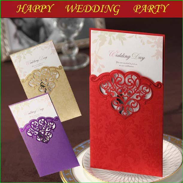 50set Wedding Card Wedding Invitation Purple Champagne Red Color