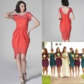 Short Sleeve Beach Coral Colored Bridesmaid Dresses Custom Made Scoop Neck Chiffon Garden High Low Bridesmaid Gowns For Wedding