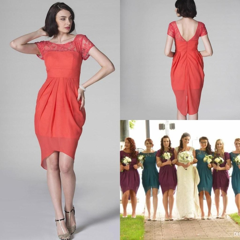 Online get cheap coral high low dresses aliexpress alibaba short sleeve beach coral colored bridesmaid dresses custom made scoop neck chiffon garden high low bridesmaid ombrellifo Image collections