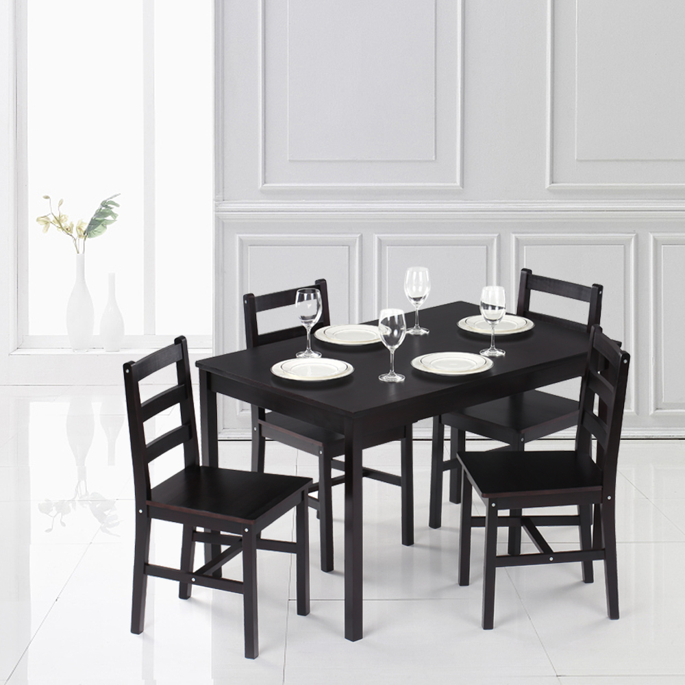 iKayaa Modern 5PCS Pine Wood Dining Table Set Kitchen Dinette Table with 4 Chairs 150KG Capacity Dark Brown/Honey