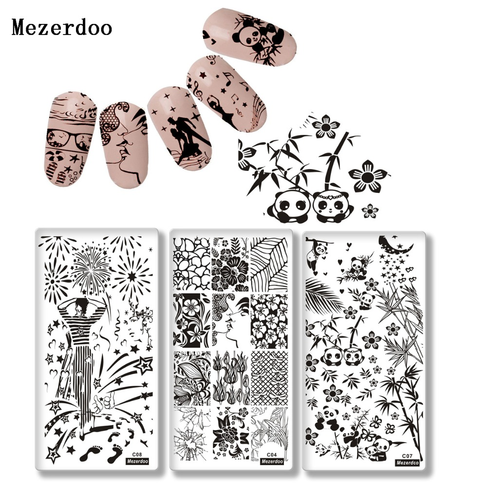 Mezerdoo Celebration Nail Stamping Plate Halloween Skull Mermaid Panda Design Manicure Nail Art Image Template