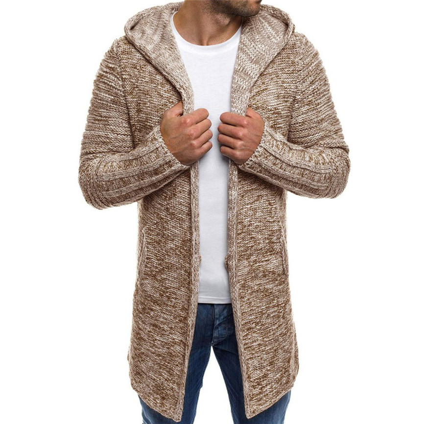 Jacket Cardigan Trench-Coat Wool Men's Outwear Knit Windproof Solid Blouse Hooded Long-Sleeve