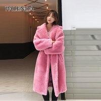 2018 новое длинное зимнее теплое пальто плюшевый медведь искусственный мех розовый и Леопардовый принт Женское пальто с карманом
