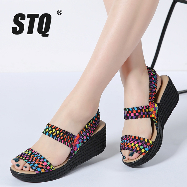 6c2bc2e4e54e5 STQ women summer shoes 2019 women woven flat wedge platform sandals ladies  flip flops ankle strap