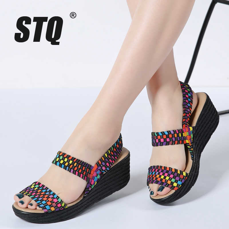 21d3557836f7 STQ women summer shoes 2019 women woven flat wedge platform sandals ladies  flip flops ankle strap