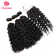 Beau Hair Water Wave 3 Bundles with 4*4 Lace Closure Human Hair Bundles With Closure Brazilian Hair Weave Bundles Non-remy Hair