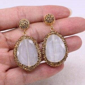 Image 4 - Pendientes colgantes de piedra facetada para mujer, aretes de gota de oro con diamantes de imitación, joyería de gemas 2432, 5 pares