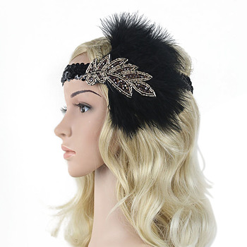 Deluxe Beaded Leaf Feather Headband Black Sequins 1920s Headpiece Roaring 20s Great Gatsby Cosplay Vintage Hair Accessory headpiece