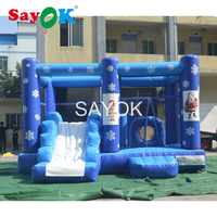 Christmas PVC Inflatable Trampoline Bounce House Kids Castle Inflatable Jumper Bouncer Slide With Air Blower