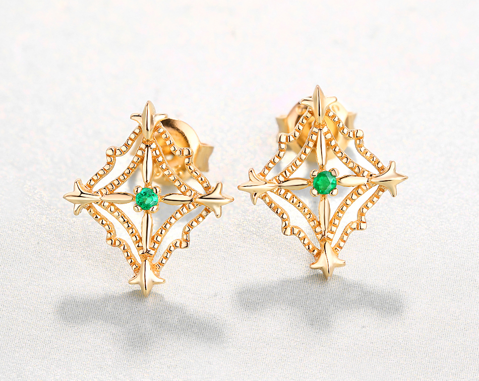 ALLNOEL 925 Sterling Silver Stud Earrings For Women Ethnic Genuine Gemstone Natural Emerald Gold 9k Lacey Earrings Fine Jewelry (5)