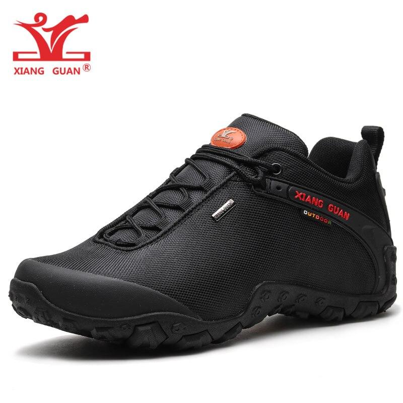XIANG GUAN Men Hiking Shoes Women Trekking Boots Black Green Breathable Sport