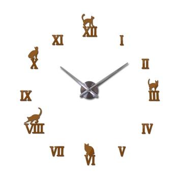 Hot design large decorative wall clocks brief design diy clocks digital watch quartz living room 3d cat wall stickers 16