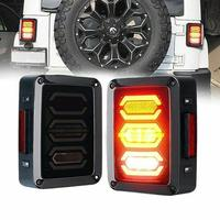 USA/EU edition LED Diamond Tail Light Black with Smoke Lens For 07 18 Jeep Wrangler JK JKU Sports Freedom Rubicon 07 17