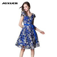 AOXUER Summer New Vintage Elegant Embroidery Lace Dress Women Sexy Deep V Neck Slim Office Fashion