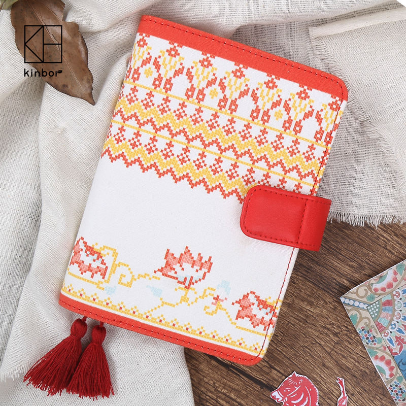 Kinbor Chinese Style Tassel Personal Diary Notebook Cloth A6 Office Planner Notebooks Travel Journal School Office Supplies freeshipping retro handmade stitching binding cloth covered notebook chinese style lotus printing notebook