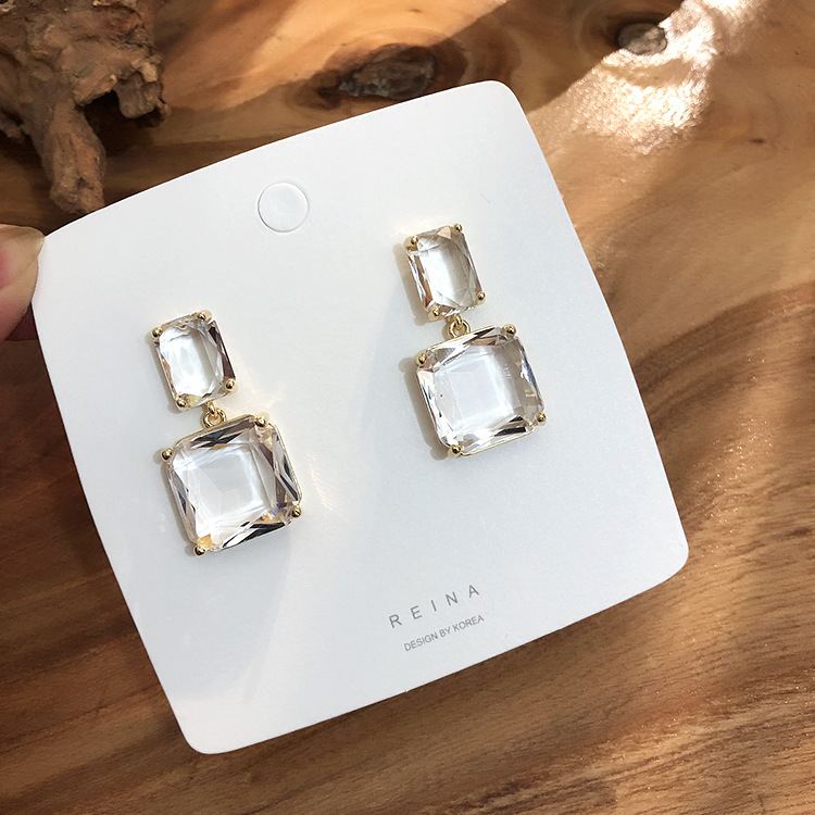 Square Earrings Glass Crystal Fashion Jewelry Transparent Korean Women New-Design Double