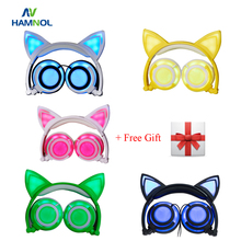 HAMNOL 2017 Cat Ear Earphones Cat headphones with LED Flashing Glowing Gentle Gaming Headset for PC Laptop and Cell Telephone