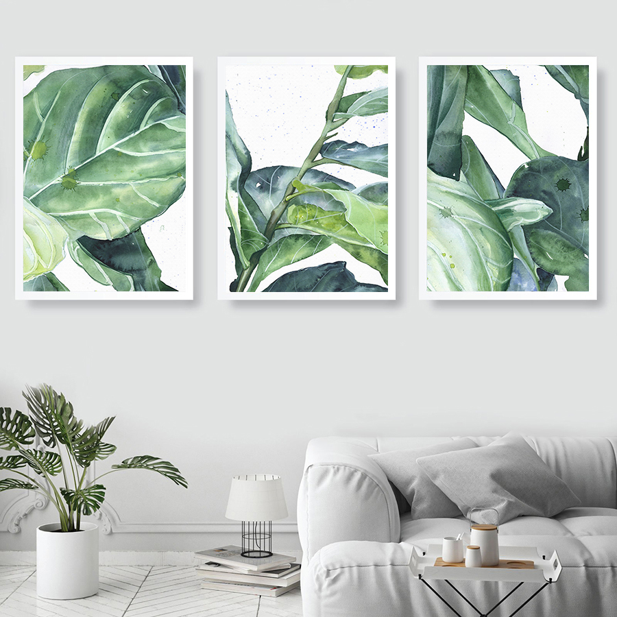 Watercolor Plant Posters Canvas Painting Abstract-Leaves-Pictures Wall-Art Prints Living-Room-Decor