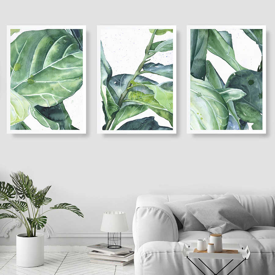 Abstract Leaves Pictures Wall Art Posters and Prints Tropic Plants Canvas Painting Nordic Watercolor Plant for living Room Decor