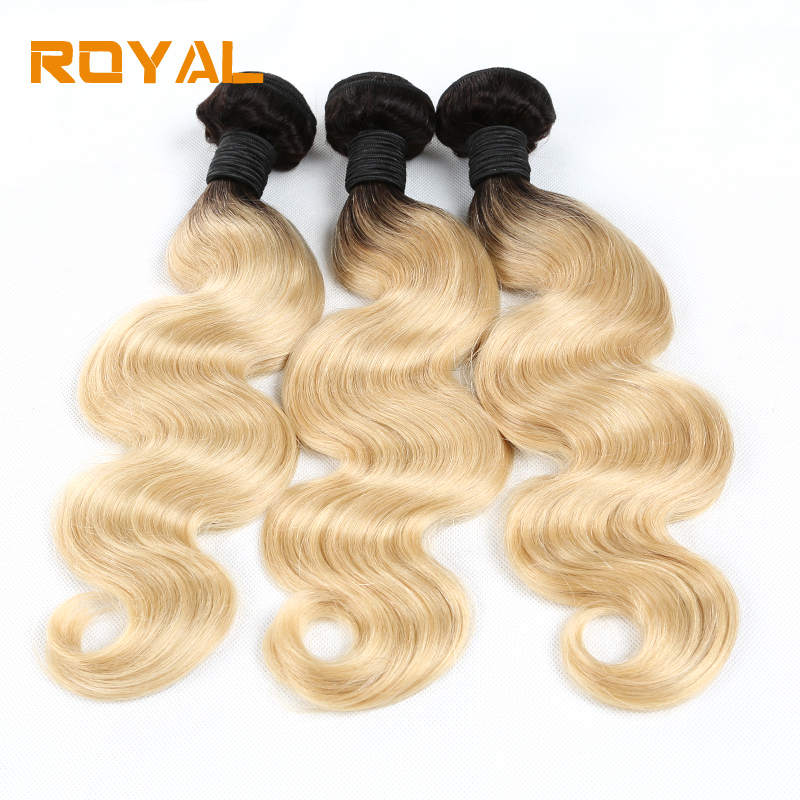 Pre-colored Body Wave 3 Pcs Bundles Malaysian Human Hair Weaving 1b/613 Ombre Non Remy R ...