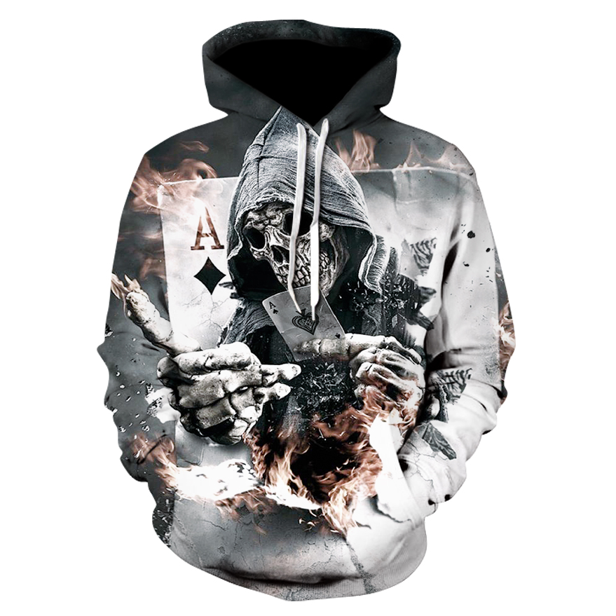 2018 Men's 3D Print Skull Cool Hooded Sports Jacket Autumn and winter thin men's and women's single layer hooded sports tops