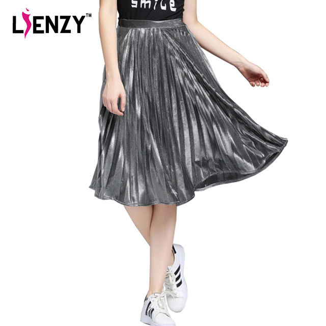 dba139327809 LIENZY 2016 Elegant Summer Long Pleated Skirt Metallic Color Stretch Large  Swing Ladies Skirt Gold Sliver