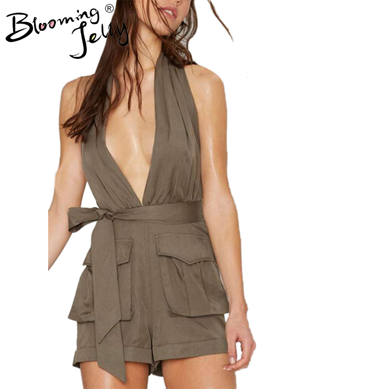 e0b4ad7913 Blooming Jelly Halter Deep V Neck Fake Belt Bow Knot Pocket Short Romper  Jumpsuit Backless Sexy Army Green Summer Bodysuit-in Rompers from Women s  Clothing ...
