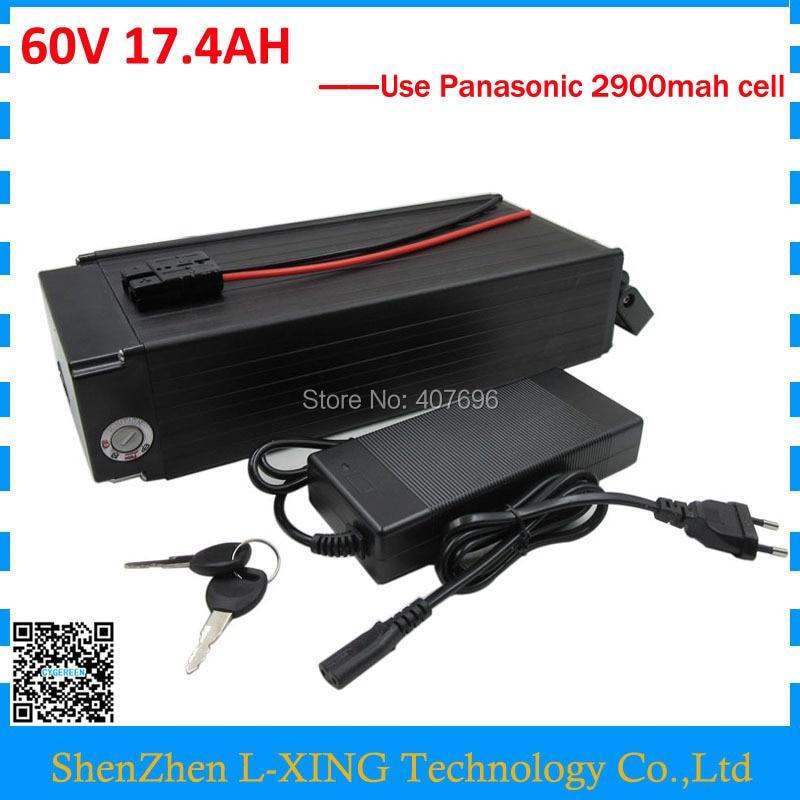 Сзади стойки батареи 60 В 17.4AH ebike батареи 60 В электрический велосипед батареи 17AH использование литиевая батарея Panasonic 2900 мАч ячейки 30A BMS