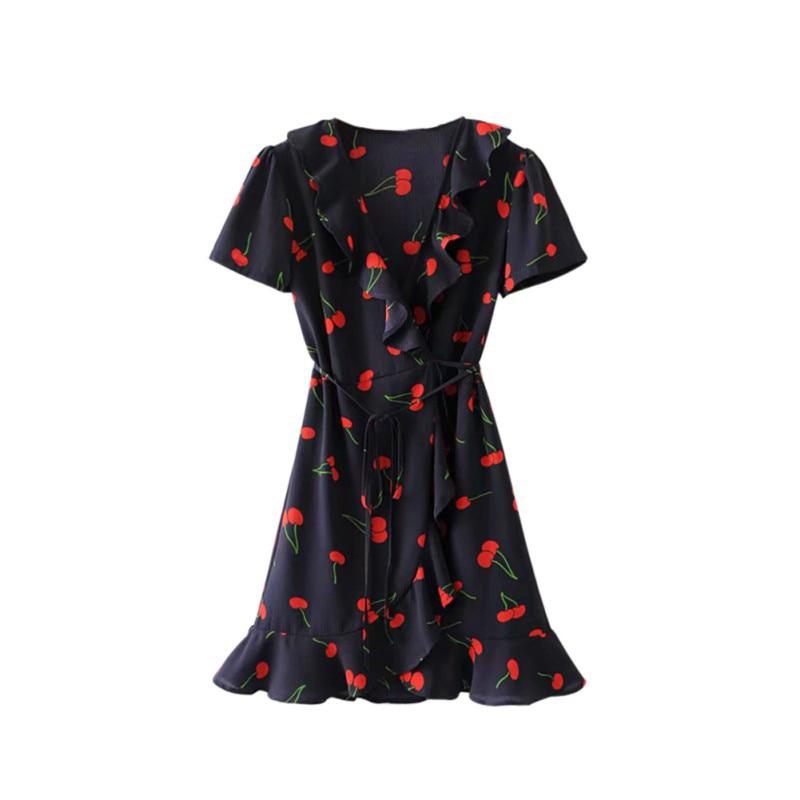 Ruffles Summer Beach Sexy Backless Short Dresses Vestidos Deep V Neck Boho Floral Print Mini Dress