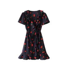 Ruffles Summer Beach Sexy Backless Short Dresses Vestidos Deep V Neck Boho Floral Print Mini Dress