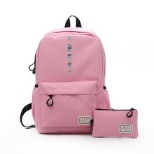 Preppy Stylish Nylon Kids Book Backpack Middle School Bags for Teenage Girls Cute Black Pencil Bag 2 pcs set Student School Bags