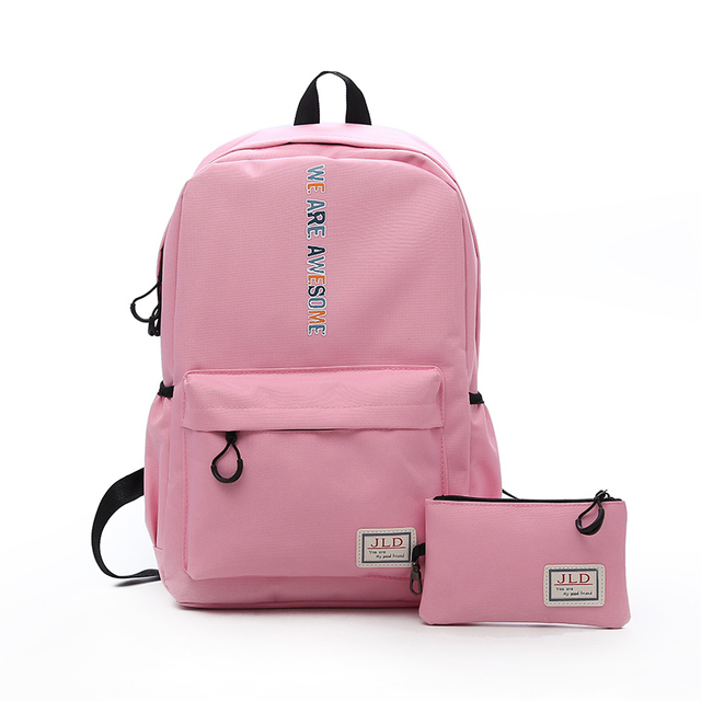 3f652cc213 Preppy Stylish Nylon Kids Book Backpack Middle School Bags for Teenage Girls  Cute Black Pencil Bag