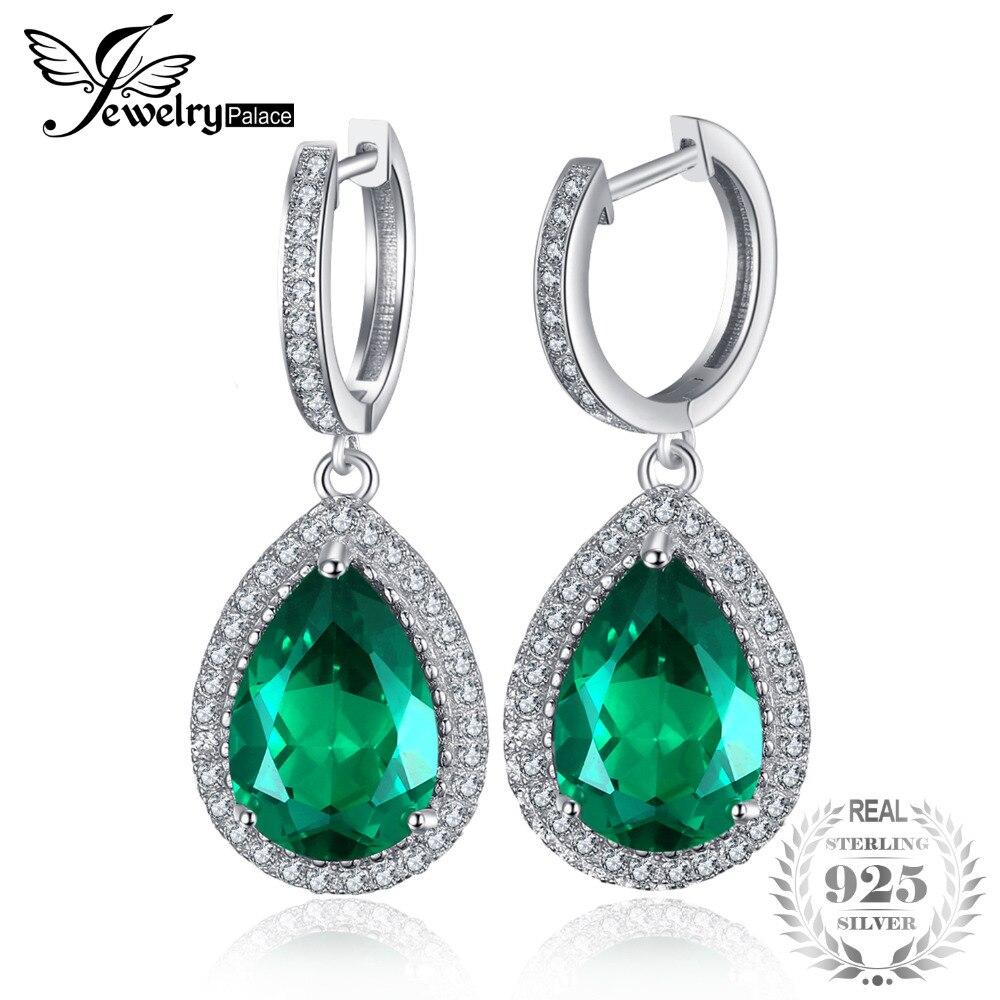 JewelryPalace Luxo Pear Cut 8.4ct Criado Verde Esmeralda Brincos Sólido 925 Sterling Silver Fine Jewelry Marca Novos Acessórios