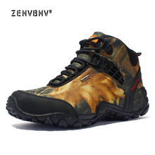Zenvbnv Men Hiking Shoes Waterproof leather Climbing & Fishing New popular Outdoor shoes Non slip Sports Sneakers