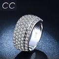 Top Quality Big Vintage Women Jewelry Rings White Gold Plated Punk Party Cocktail Simulated Diamond Ring Full With Crystal CC234