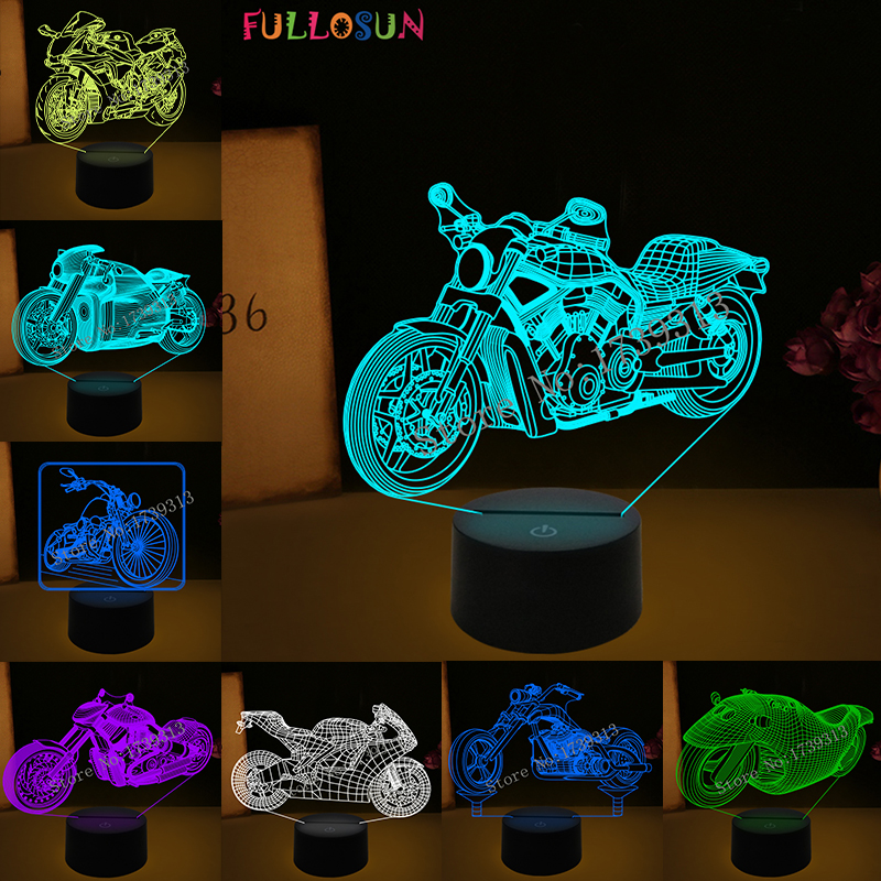 Bedroom Sleep Light 3D Motorcycle Table Lamp Night Light 7 Color LED Motorbike Lamp Dropshipping in LED Night Lights from Lights Lighting