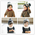 2016 New Fashion Baby Boy Hat Woolen Set Head Cap Ball Top Children Solid Comfortable Black Blue Print Fitted Patchwork Boys Hat