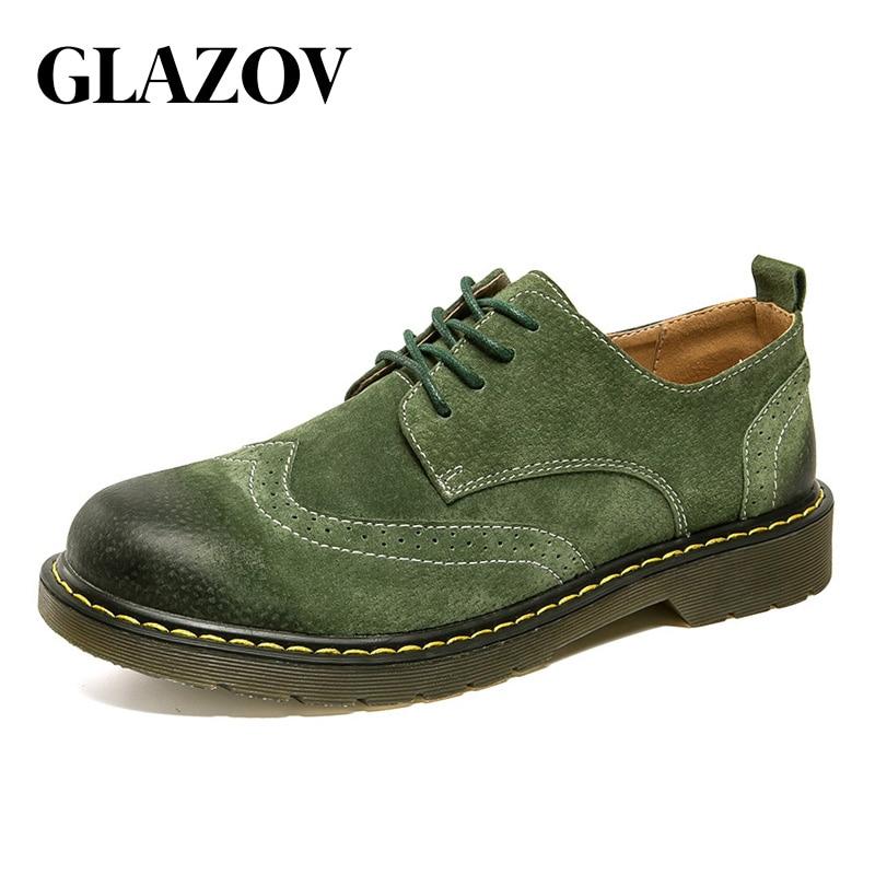 GLAZOV 2018 Neue Männer Herbst Mode Arbeits Schuhe Qualität Wohnungen Lace-up Männer Schuhe Fuß Bequem Atmungsaktiv Männer Oxfords