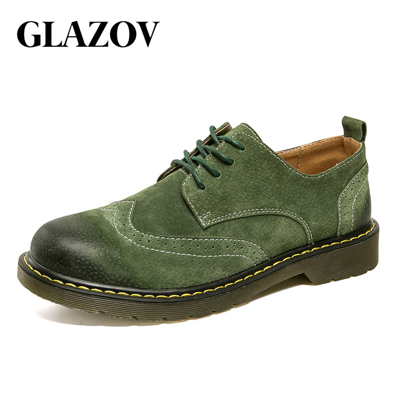 GLAZOV 2018 New Men Autumn Fashion Working Shoes Quality Flats Lace-up Men Shoes Walking Comfortable Breathable Men Oxfords