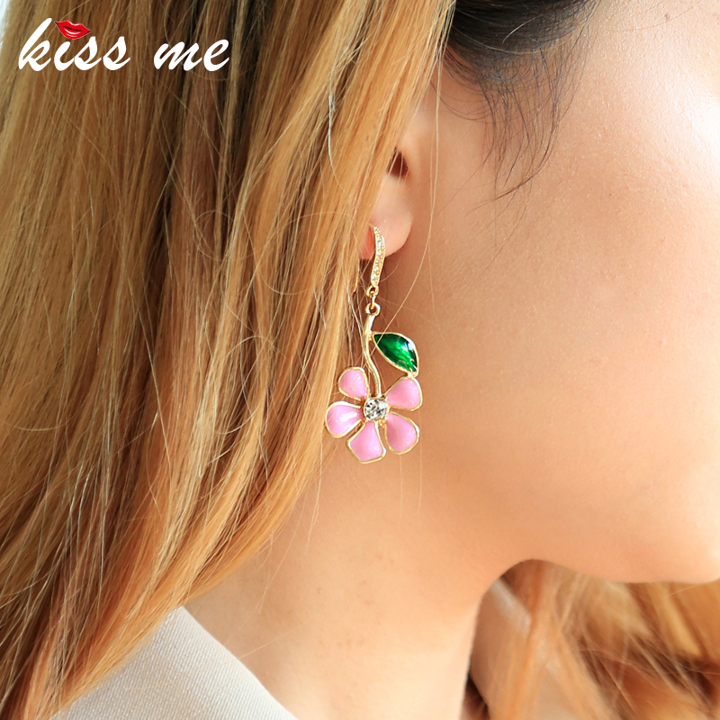 נשיקה לי מתוק חמוד צהוב ורוד קריסטל אמייל פרח עגילים לנשים קיץ חדש סגסוגת Drop עגילי קוריאני טרנדי תכשיטים