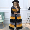 Women's clothes Winter 2016 Fox Fur Coat Long Section Thick Warm Fur Sleeveless Vest O-Neck Contrast Color   GSJ197